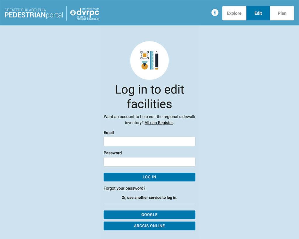 Login to Edit Sidewalk Facilities